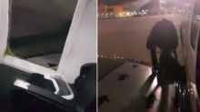 Delayed Ryanair passenger jumps out of emergency exit and declares: 'I'm going via the wing'