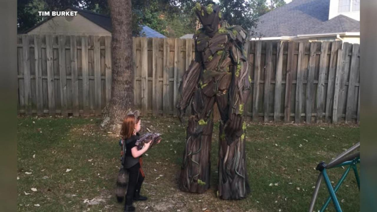 dad builds 7 foot groot costume to impress u0027guardians of the