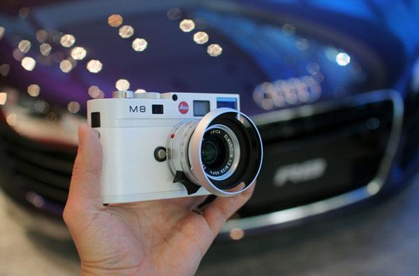 Leica special edition white M8 spotted at car show in Tokyo