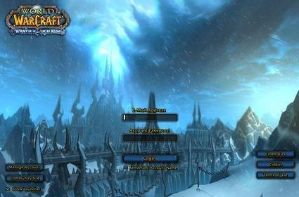 Wrath of the Lich King login screen