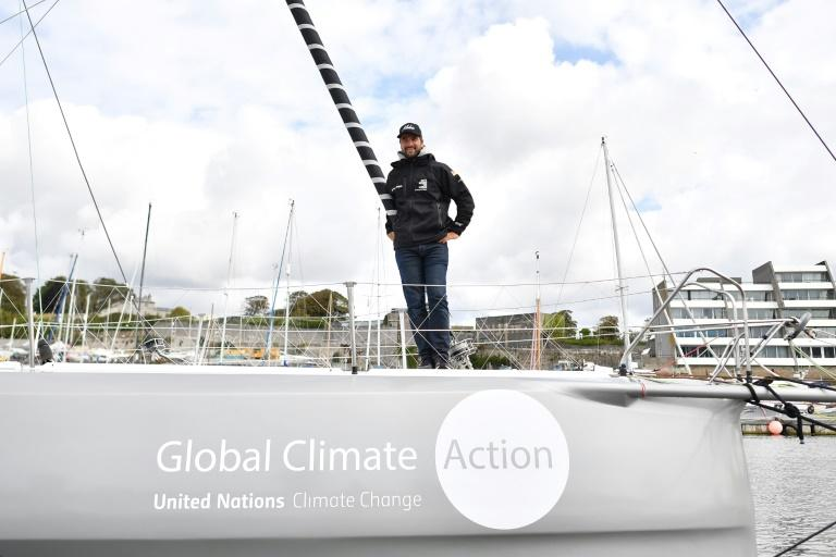 """""""The objective is to arrive safe and sound in New York,"""" said German round-the-world sailor Boris Herrmann, one of the yacht's two skippers (AFP Photo/Ben STANSALL)"""