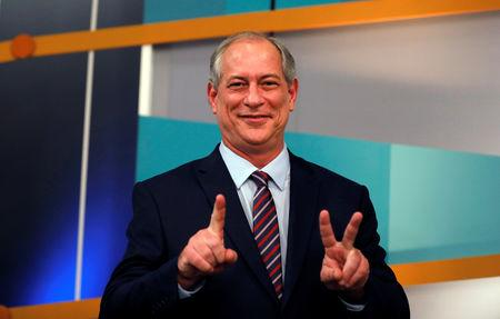 FILE PHOTO: Presidential candidate Ciro Gomes of the Democratic Labour party (PDT) gestures during a television debate at the Gazeta TV studio in Sao Paulo, Brazil September 9, 2018. REUTERS/Nacho Doce