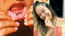 Mulher tatua a palavra 'KFC' no lábio: 'Realmente amo frango'