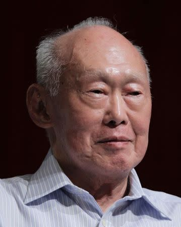 File photo of former Singapore Prime Minister Lee smiling as he attends the LKY School of Public Policy 7th anniversary dialogue session in Singapore