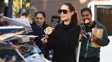 Angelina Jolie Looks Posh in All Black While Greeting Fans in Los Angeles