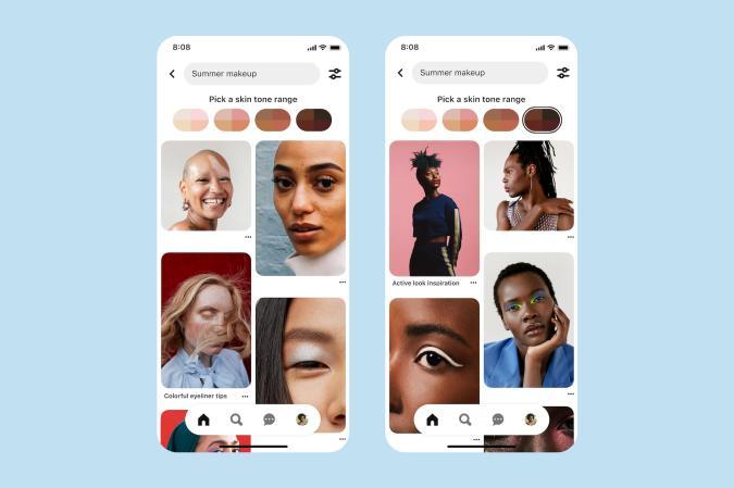 Pinterest skin tone search
