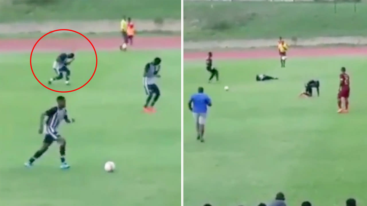 Disturbing video shows moment footballers are struck by lightning