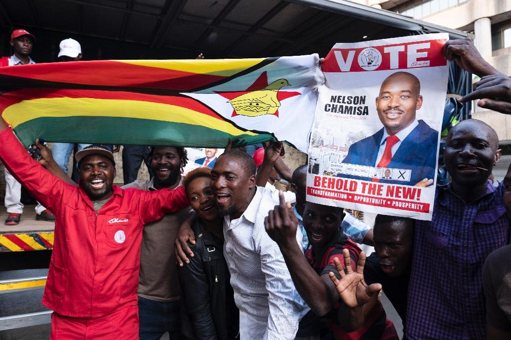 Zimbabwe opposition MDC party leader and presidential contender Nelson Chamisa said the presidential results were being faked (AFP Photo/MARCO LONGARI)