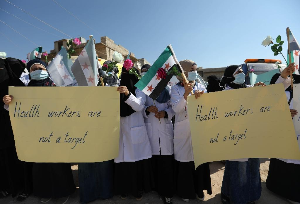 Medical staff in Atme, a town in the rebel-held Syrian province of Idlib, urge the international community to protect them from an expected regime offensive (AFP Photo/OMAR HAJ KADOUR)