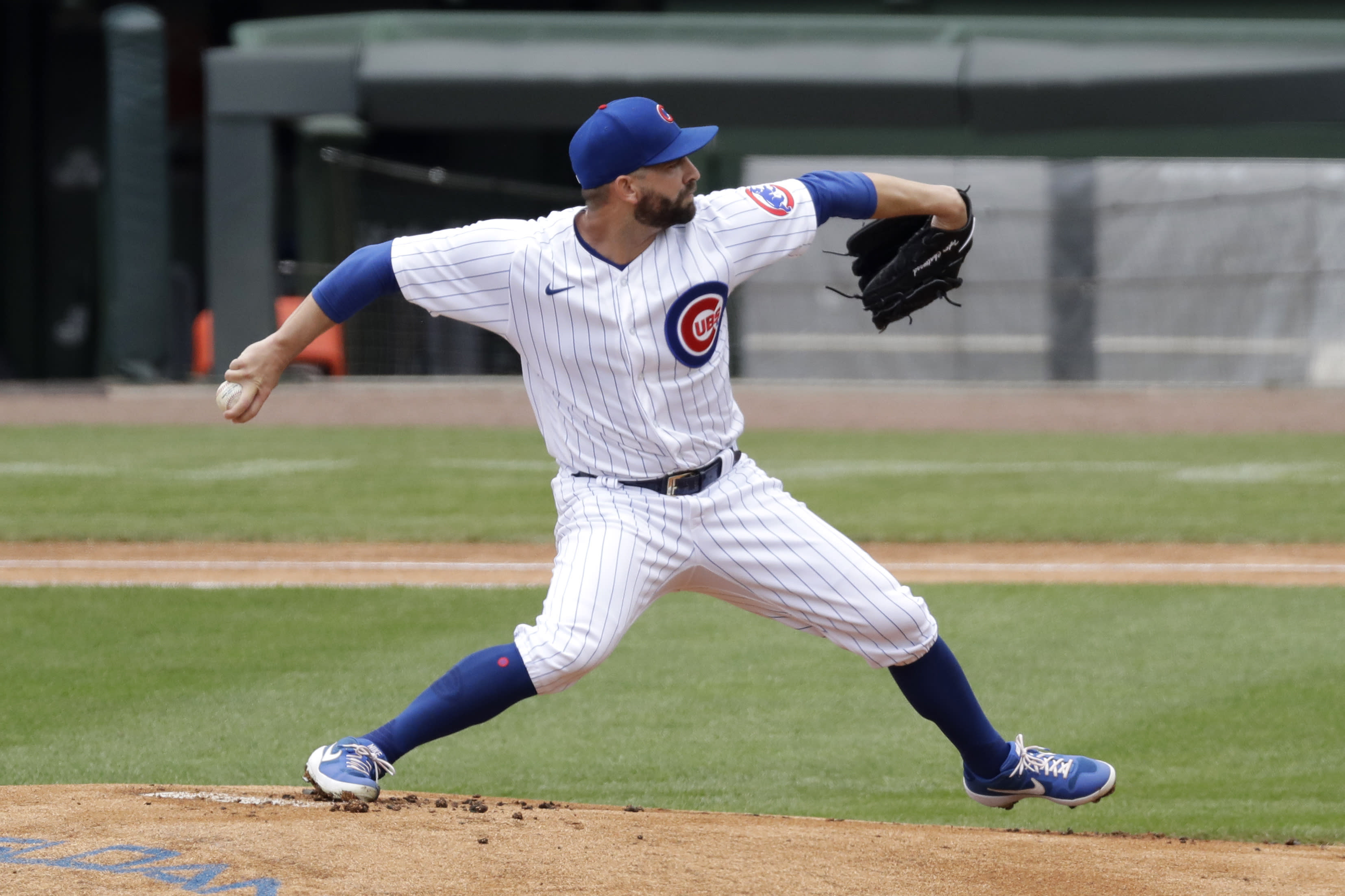 Chicago Cubs pitcher Tyler Chatwood throws the ball during an intra-squad baseball game at Wrigley Field in Chicago, Wednesday, July 15, 2020. (AP Photo/Nam Y. Huh)