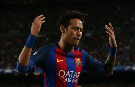 El delantero del Barcelona Neymar en un duelo frente a Juventus por los cuartos de final de la Liga de Campeones del fútbol europeo en Barcelona