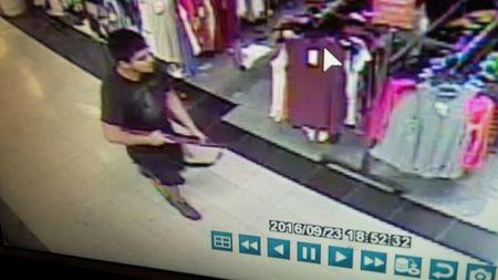 An image taken from security video shows the gunman who opened fire in the Cascade Mall in Burlington, Washington on Friday night, and who is still at large, released by the Washington State Patrol, September 24, 2016. Washington State Patrol/Handout via REUTERS