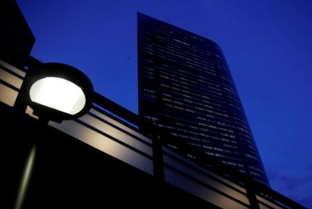 Dentsu's head office building is pictured in Tokyo