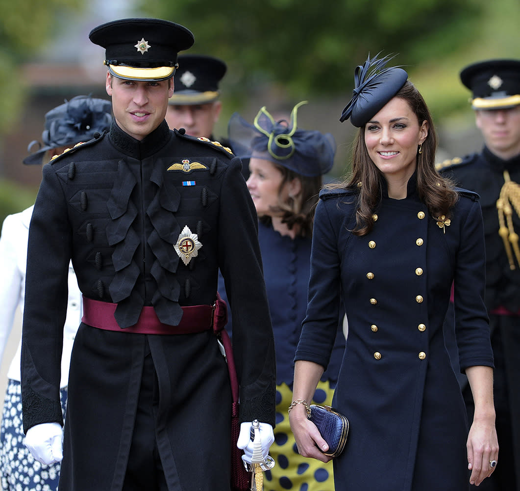 Kate wore this bold Alexander McQueen military-style coat while visiting army Barracks in Windsor.