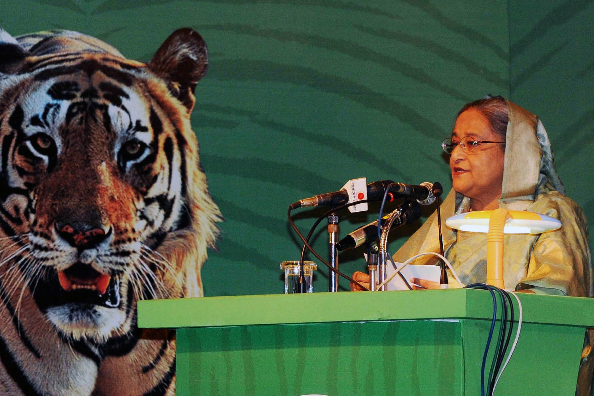 Bangladesh Prime Minister Sheikh Hasina addresses the Global Tiger Recovery Programme (GTRP) in Dhaka, on September 14, 2014 (AFP Photo/)