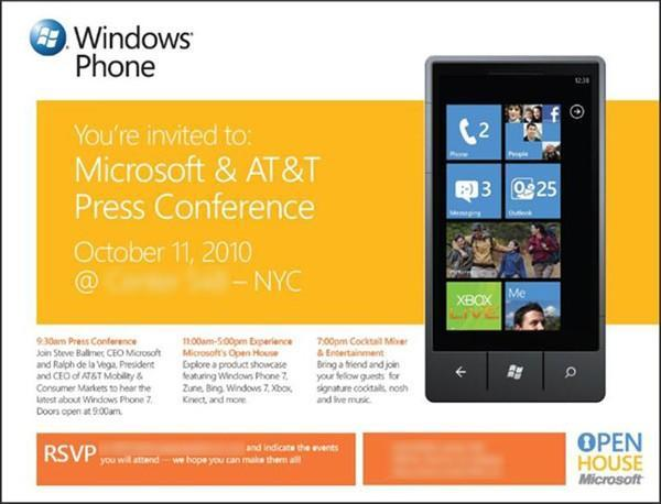Steve Ballmer and AT&T's Ralph de la Vega to headline Windows Phone 7 launch event in NYC on October 11 -- we'll be there live!