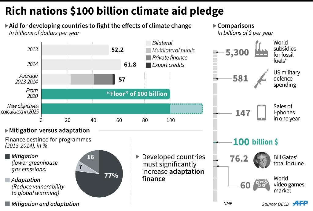 Rich nations, who have polluted more for longer, pledged in 2009 to muster $100 billion per year in climate finance from 2020 (AFP Photo/Alain BOMMENEL)