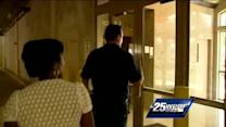 Angela Rozier takes security tour at Comerica Bank building
