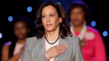 Sen. Kamala Harris in California appeals to black voters; pushes gender pay equity