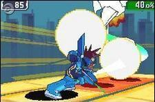 A side-on view of Mega Man Star Force 3