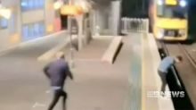 Hero bystander saves stranger in the nick of time at Sydney station