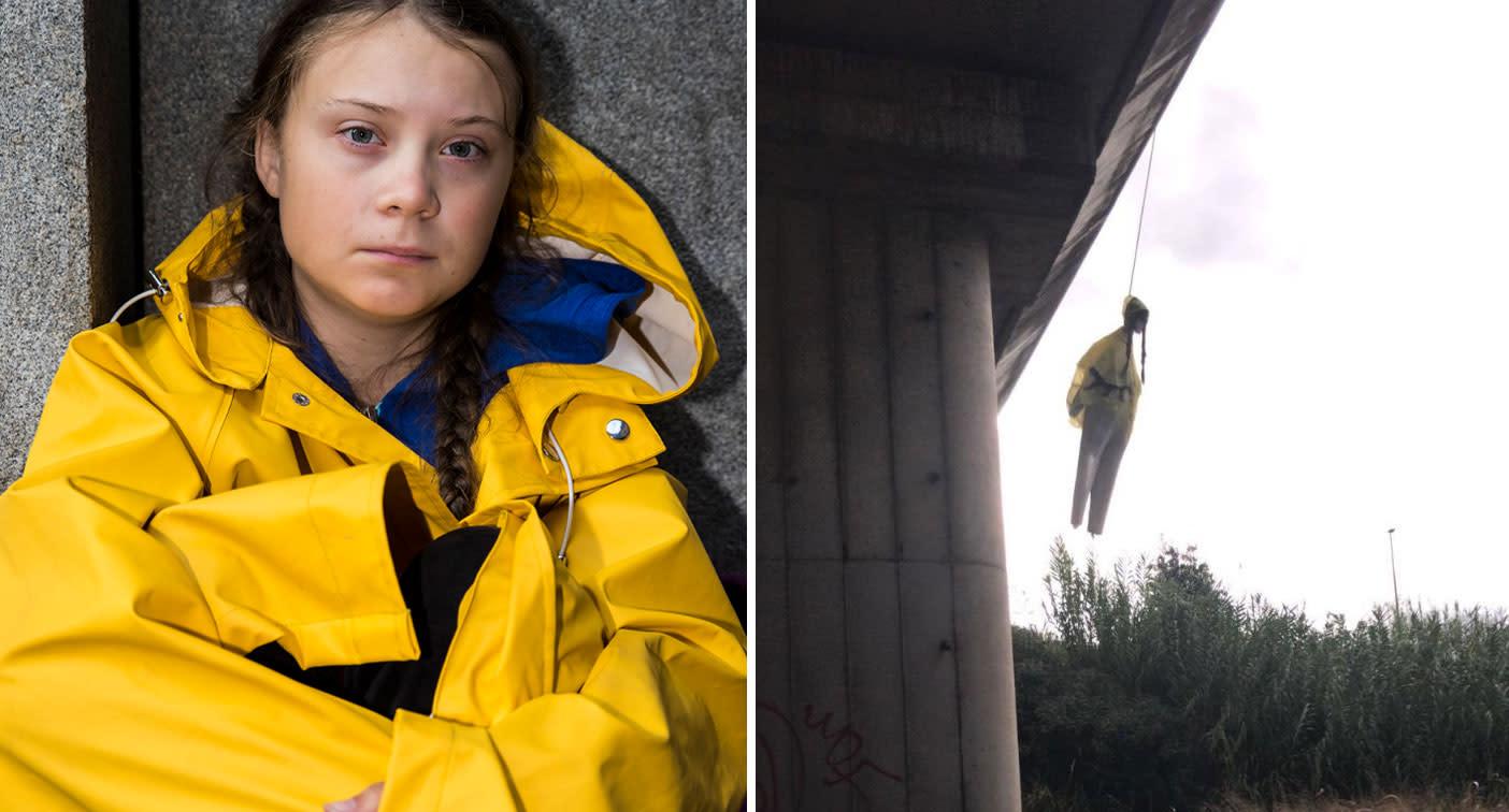 Fury over 'shameful' hanging dummy of climate activist