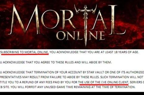 Mortal Online plagiarizes EVE Online's terms of service