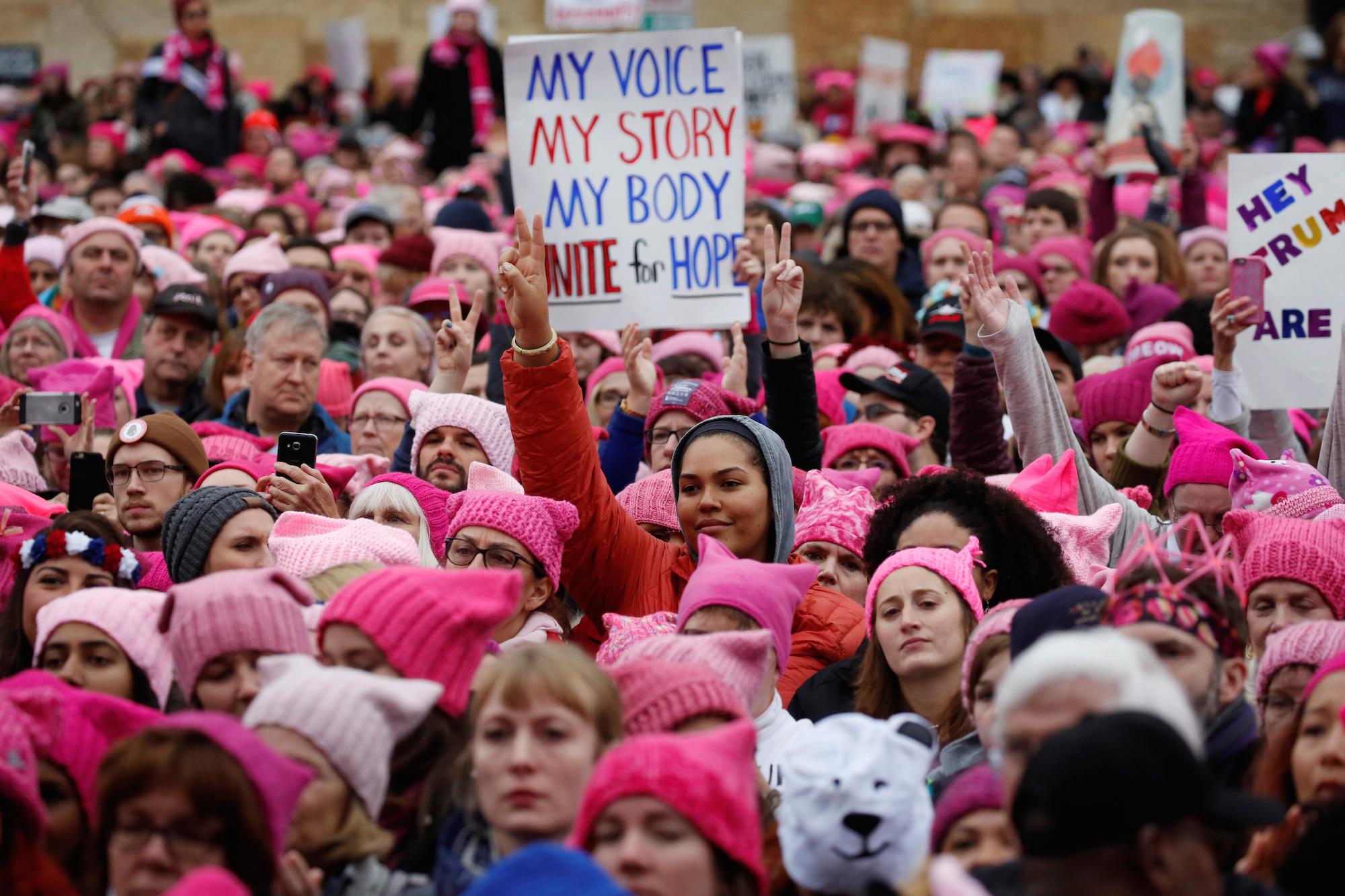 Thousands of women wore pink 'pussy hats' the day after Trump's inauguration