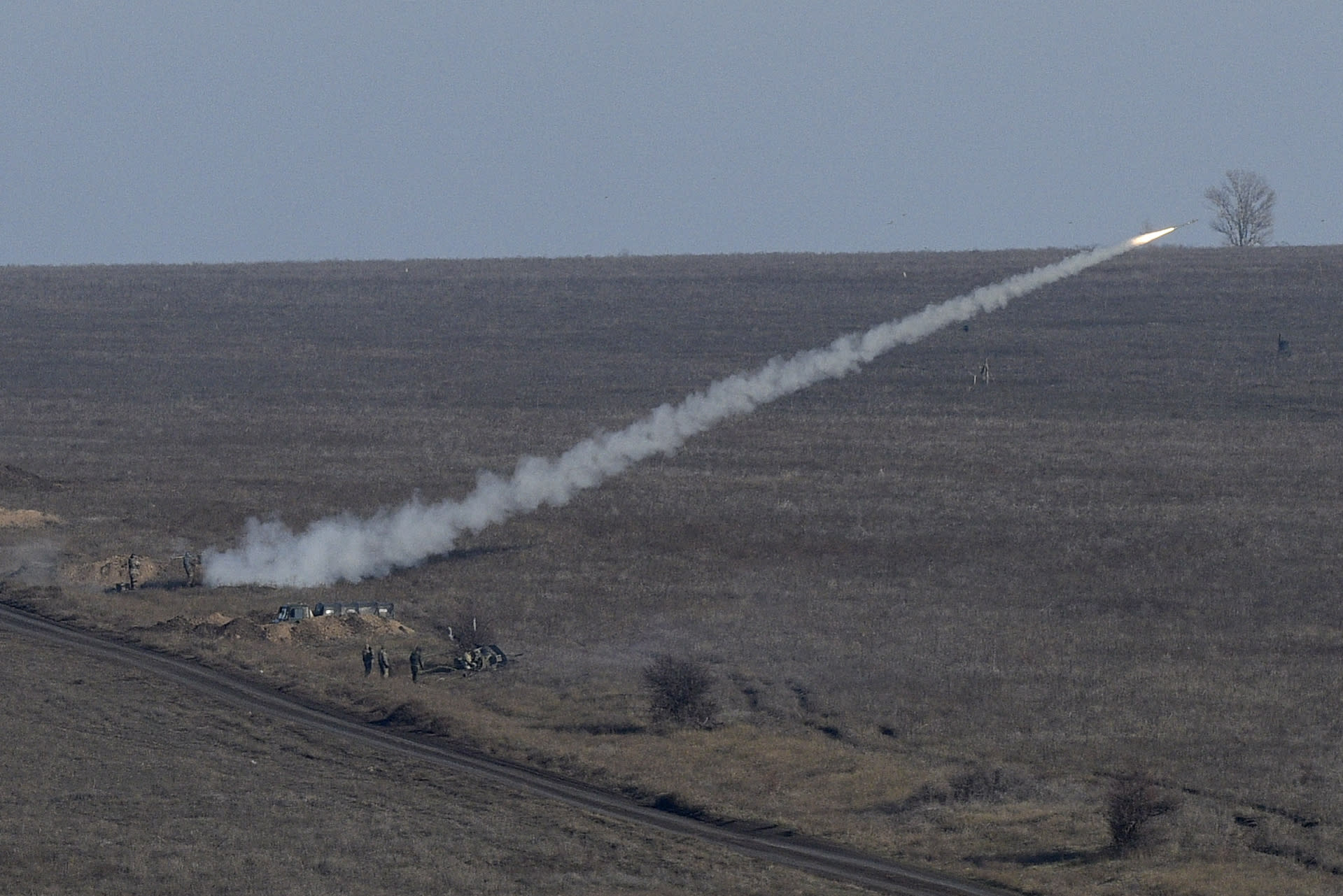 Ukrainian soldiers launch an anti-aircraft rocket during military exercises near Urzuf, south coast of Azov sea, eastern Ukraine, Thursday, Nov. 29, 2018. Ukraine put its military forces on high combat alert and announced martial law this week after Russian border guards fired on and seized three Ukrainian ships in the Black Sea. (AP Photo/Evgeniy Maloletka)