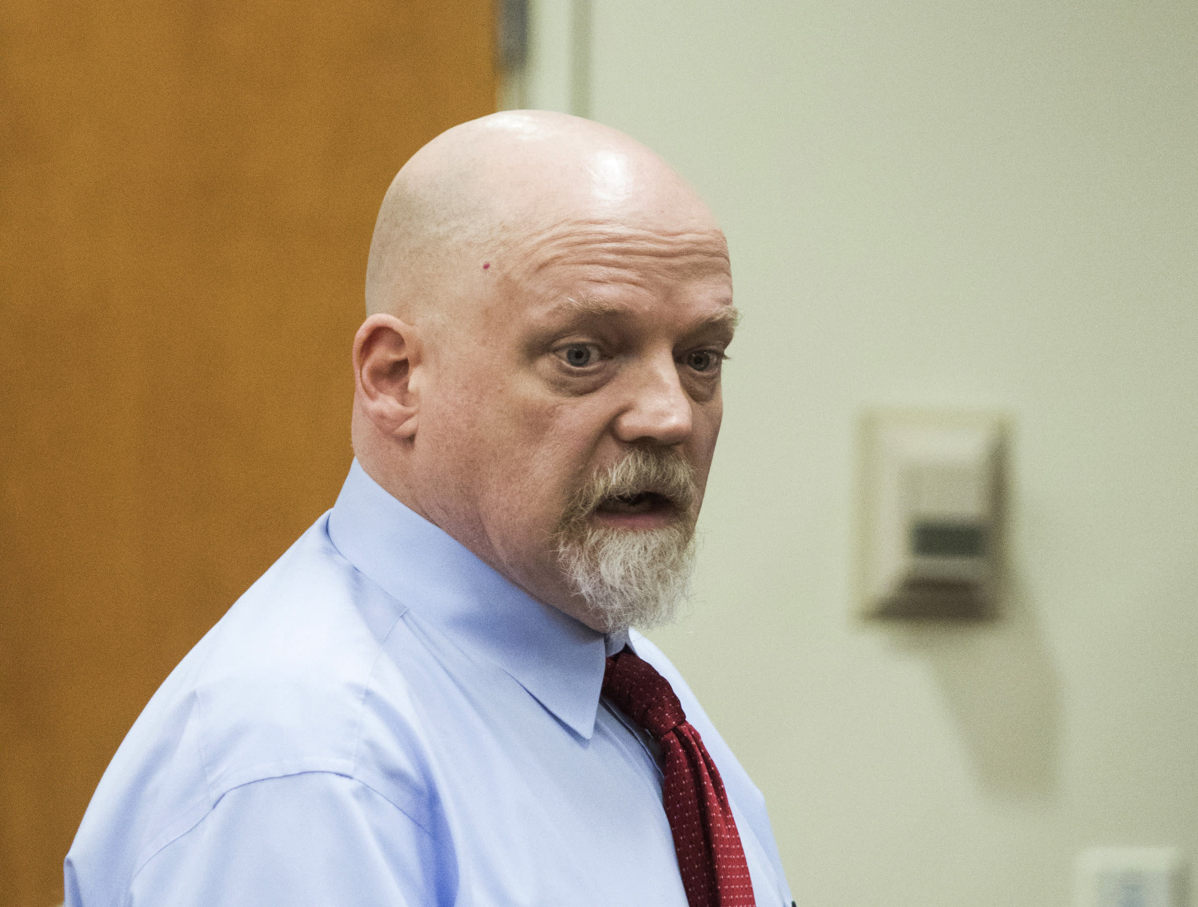 William Talbott II pleads his innocence before a judge sentences him to life without parole at the Snohomish County Courthouse on Wednesday, July 24, 2019 in Everett, Wash. Talbott, convicted of killing a young Canadian couple more than three decades ago after a trial that hinged on DNA evidence and newly-emerged genealogical technology, was sentenced by a judge in Washington state Wednesday to life in prison. (Andy Bronson/The Herald via AP)