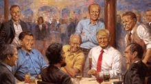 Un extraño cuadro de Trump tomando Diet Coke con Lincoln, Nixon y Reagan está colgado en la Casa Blanca
