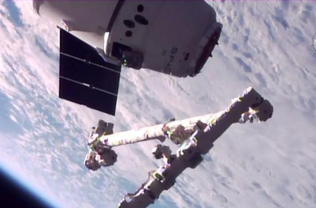 SpaceX's re-launched Dragon capsule arrives at the ISS