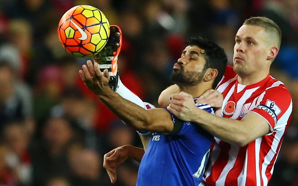 Diego Costa of Chelsea and Ryan Shawcross of Stoke City compete for the ball during Chelsea's last league visit to the Potteries, in November 2015  - 2015 Getty Images