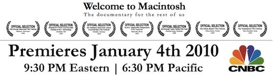 Reminder: Welcome to Macintosh airs tonight on CNBC, more docs to follow