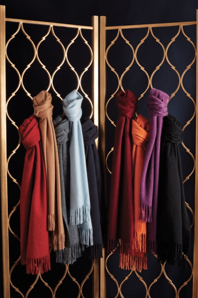 """<span>$348; buy now at <a href=""""https://www.brooksbrothers.com/Cashmere-Scarf/MT00210,default,pd.html?ICID=Bestlife_MT00210"""" rel=""""nofollow noopener"""" target=""""_blank"""" data-ylk=""""slk:brooksbrothers.com"""" class=""""link rapid-noclick-resp"""">brooksbrothers.com</a></span> There are scarves. And then there's <em>this</em> scarf. Where cashmere scarves are diluted with traces of wool or silk, this one is 100-percent crafted out of the good stuff, resulting in a sumptuous fabric that's soft enough to make any guy swear off lesser neckwear for good. Plus, it's available in five tastefully reserved colors that are sure to seamlessly mesh with any wardrobe. (Our favorite: The camel.)"""