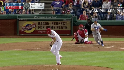 Phillies pitcher somehow catches a comebacker in his jersey