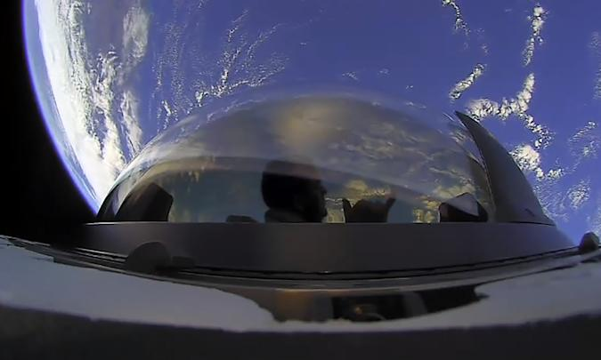 Inspiration4 team views Earth from SpaceX's Crew Dragon cupola