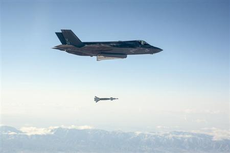 U.S. Marine Corps F-35B fighter jet drops a laser-guided bomb at Edwards Air Force Base, California