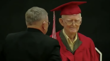95-year-old World War II veteran gets his high school diploma — more than 70 years after dropping out and enlisting