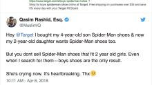 2-year-old cries after discovering Target doesn't sell Spider-Man shoes for girls