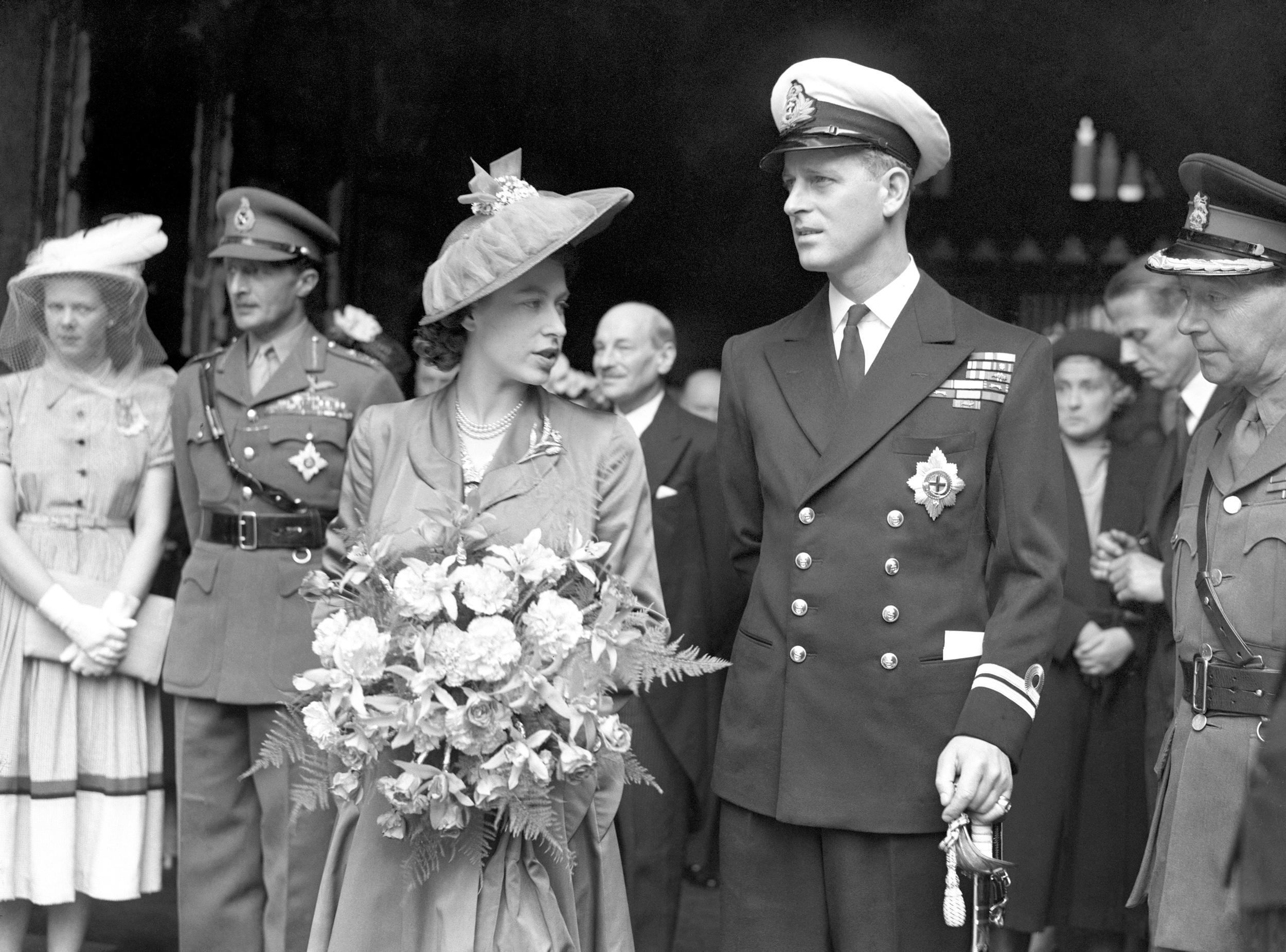 The Duke of Edinburgh and his wife Princess Elizabeth leave the Guildhall, where he received the Freedom of the City of London.