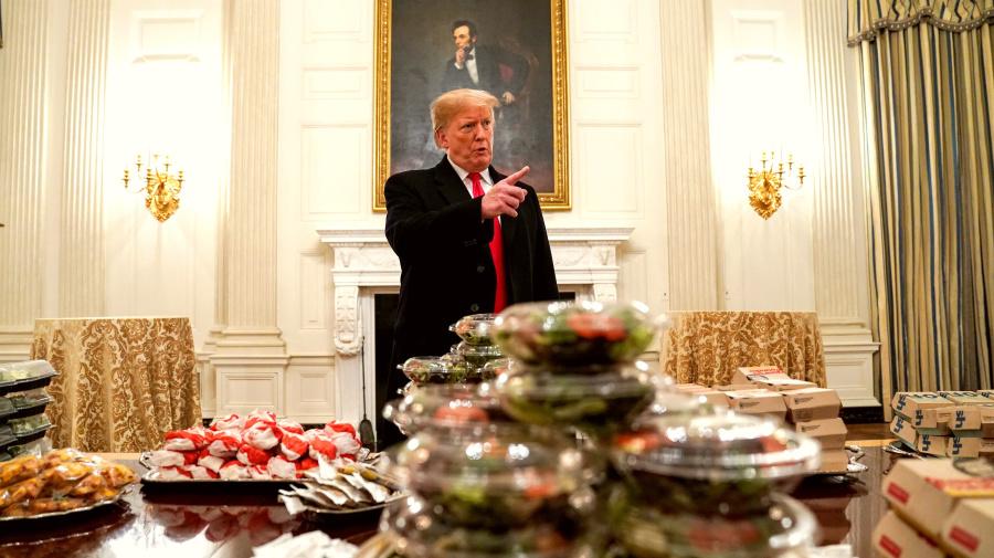 Trump defends serving '1000 hamberders'