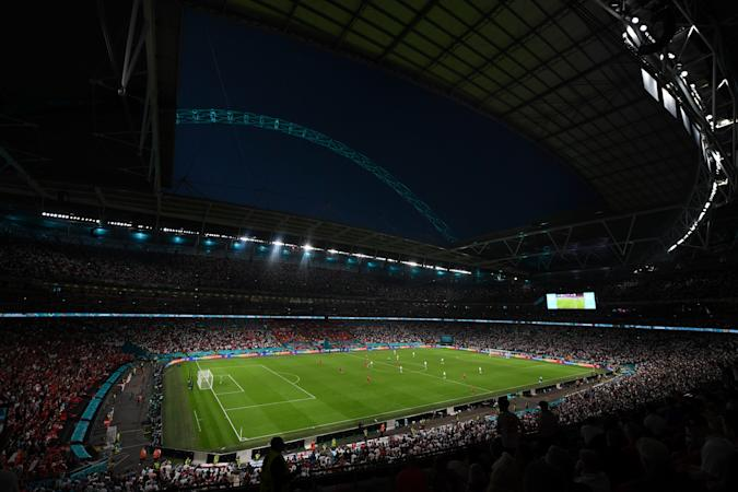 LONDON, ENGLAND - JULY 07: A general view during the UEFA Euro 2020 Championship Semi-final match between England and Denmark at Wembley Stadium on July 07, 2021 in London, England. (Photo by Michael Regan - UEFA/UEFA via Getty Images)