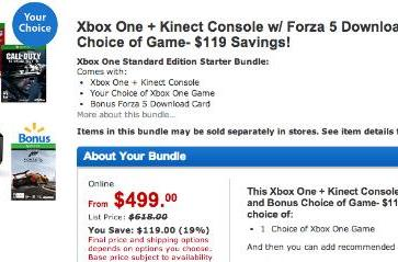 Save $120 on an Xbox One, Kinect, Forza 5, a game you pick