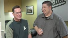 Opening 25-year-old baseball cards with A's manager Bob Melvin