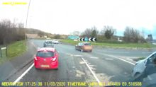 Mercedes driver caught speeding through roundabout's busy lanes
