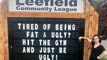 Woman outraged by sign 'greeting' people in community: 'Tired of being fat and ugly? Hit the gym and just be ugly'