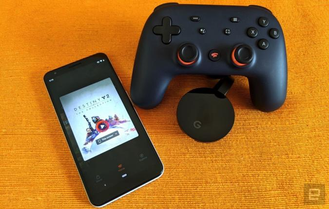 Google Stadia with controller and Chromecast