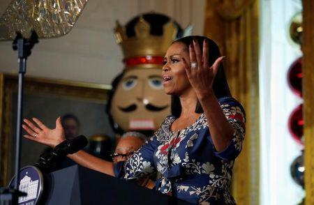Michelle Obama hosts military families to view White House holiday decorations in Washington