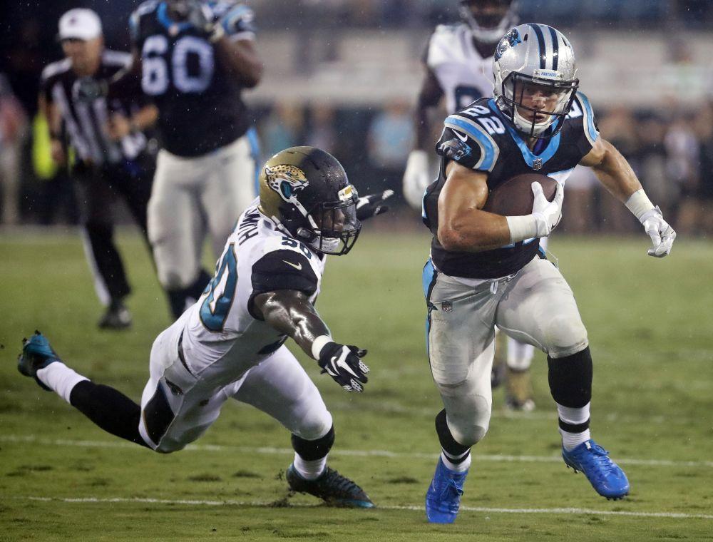 Carolina Panthers running back Christian McCaffrey could have a big rookie season. (AP)